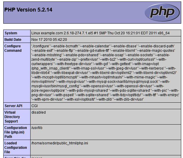 phpinfo() output